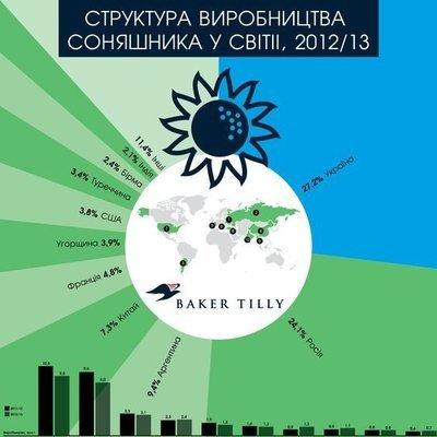 Структура производства подсолнечника в мире 2012/13