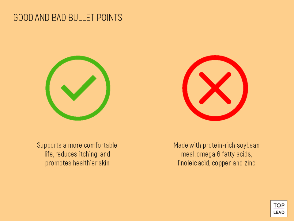 good and bad bullet points